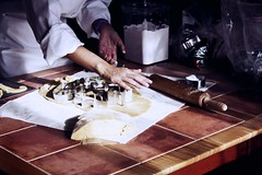 Baker At Work (Ginny Griffin) Tags: home kitchen work baking hands holidays baker arm dough shapes pastry tradition rolling cutters