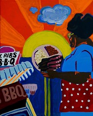 Rib Plate (spinadelic) Tags: street food orange woman cloud sun building art lines yellow painting beans acrylic cole south twin plate bbq polka dot apron barbecue signage ribs slaw fishers baked stevespencer