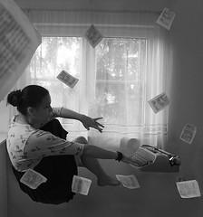 Inspiration (lumineimaginis) Tags: inspiration levitation pages books writing typewriter girl me self selfportrait window black white bw