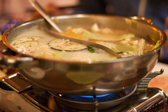 Hot Pot (_anke_) Tags: 2017 digital chinesefood hotpot chineserestaurant düsseldorf germany food yummy canon50mm14 50mmlens primelens fiddy 50mm14 eggplant coconutbroth leek enoki kantonibroth pot gasstove restaurant 365 project365 photoaday 3652017 ayearoflivingpositively