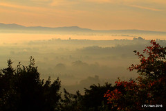 Sun-up. Lever du soleil (Peter J. Ham.) Tags: scenery mist dawn sunrise rural countryside light leaves trees valleys dales england lugg herefordshire explored explore canon 7d