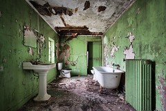 Neglected   Green with Envy (James Kerwin Photographic) Tags: 5ds canon abandoned abandonment architecture art building decay derelict dereliction exploration explore grand grandeur historic history images neglect photography travel bathroom green sink taps bath paint neglected chateau villa abandonedment