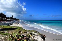 La plage et les huttes. Varadero, Cuba (Huguette T.) Tags: mer vagues sable huttes dunes ciel nuage