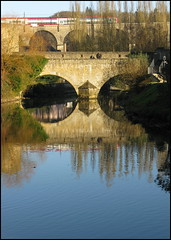 Trains and viaducts, Luxembourg (Wagsy Wheeler) Tags: luxembourg luxembourgcity river alzette alzetteriver train railway viaduct railwayviaduct reflection water tree trees