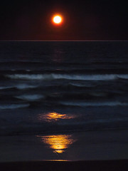 Tinged With Blood (Steve Taylor (Photography)) Tags: blood moon art digital impressionist light black brown blue yellow red water newzealand nz southisland canterbury christchurch ocean pacific sea waves northnewbrighton reflection night sky