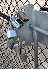 Seriously Locked (mikecogh) Tags: belair locked padlocks security multiple paranoid gate excessive overkill