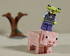 Alien on a pig, in front of a tree (Busted.Knuckles) Tags: home toys lego minecraft minifigures pig alien tree pentaxk3