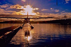 The low winter sun isn't all bad, yes? (otterdrivernw) Tags: dhc3 dehavilland seattle seaplanes seaplane floatplanes floatplane clouds upperleftusa pnw water lakes reflections reflection sunsets sunset