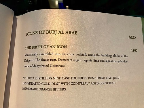 £1,500 for the Burj Al Arab's signature cocktail. Just the two then. #cocktails #dubai #skyviewbar #burjalarab