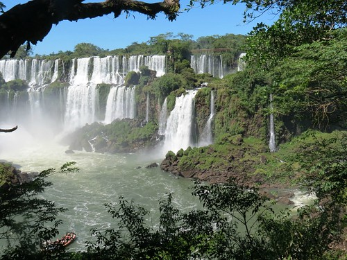 Iguazu falls, and view on the high trail bridge