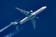 Kuwait Airways Boeing 777-369(ER) 9K-AOC (Thames Air) Tags: kuwait airways boeing 777369er 9kaoc contrails telescope dobsonian overhead vapour trail