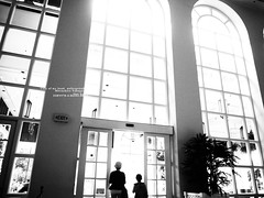 Light in lobby. (My wife and son.) (mitsushiro-nakagawa) Tags: cairns australia bw