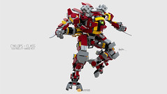 Cyklops Class Mech Pose #02 (clmntin.E) Tags: walk walker mech mecha mechanical afol mocs moc lego digital designer argonaut destroyer archer lecktor hannibal class military futuristic future robot hard exo suits suit hardsuits exosuits scifi builder mini miniland minifig minifigurines figurines povray pov blue render bluerender heavy assault shiva artillery support the big gun magnetic accelerator rail sniper toy pose pilot cyklops high mobility