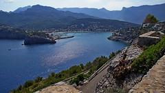 Port de Sóller (dreptacz) Tags: zatoka majorka hiszpanie wyspa natura krajobraz widok góry woda morze slt55 lustrzanka sony niebieski niebo kwiaty drzewa sosna pinia
