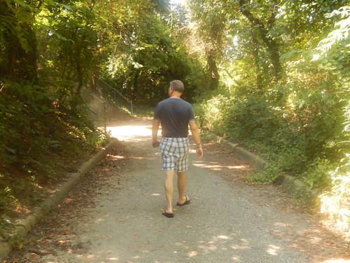 Mark walking through the trails at Fort Howard Park - Baltimore County - August 2015