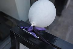 (ziemowit.maj) Tags: detail london angle knot southlondon crystalpalace straightphotography urbanfragment purpleribbon primelens ef28mmf18 canon5dmkiii tightknot whiteballoontiedtoabalckframe