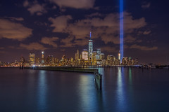 14th Night (anuragyagnik) Tags: newyorkcity usa newyork skyline us downtown unitedstates event tribute freedomtower memoriallights 1worldtradecenter