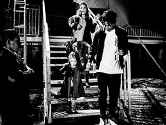 (Carlos Mota Jr) Tags: blackandwhite girl monochrome stairs contrast child father guard daughter mother cellphone backstage talking