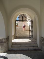 Zoe descending a staircase (JohnnyDalmas) Tags: greece rhodes mandraki rhodos