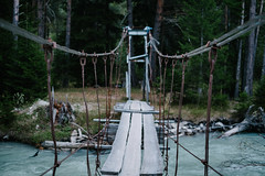 Suspension bridge (yeap_nope) Tags: bridge trees texture nature water river daylight wooden fuji natural suspension russia outdoor naturallight fujifilm 3514 xe1 fujix vsco xtrans vscofilm