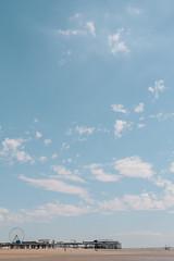 Summer Forever (mecenas zielon) Tags: birthday blue summer england sky sun beach wheel 50mm sand colours walk blackpool allforfun wojciechzielenkiewicz