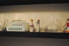 Dining Room - Fall 2015 (Ulixis) Tags: wood pink blue autumn girls red white house black fall home glass yellow set vintage bench glasses blog bottle dolls cabinet room vessel shelf collection vase dining dishes collectible decor spoons carafe curio finechina driedflowers royaldoulton ulixis