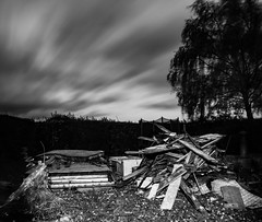 A Tale Of Two Sheds (Mortarman101) Tags: wood monochrome garden evening mess timber shed rotten scrap