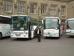 Scania K113 Van Hool N546TBO & Sandy's Coaches Bova Futura R685WRN outside Carlisle Station (Mark Bowerbank) Tags: station outside van carlisle sandys coaches futura scania hool bova k113 r685wrn n546tbo