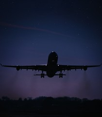 Rise (lieschen78) Tags: sunset sky night airplane stars fly airport swiss aviation airbus a340