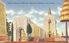 Temple Compund - 1939 Golden Gate International Exposition - San Francisco, California (The Cardboard America Archives) Tags: sanfrancisco california vintage expo postcard 1939 worldsfair
