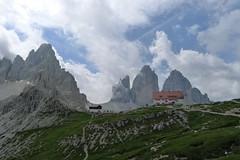 Tre Cime Lavaredo i Paternkofel z okolic schroniska Locatelli