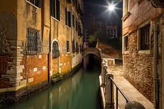 Venice (Fret Spider) Tags: travel venice light reflection night canal venezia wander