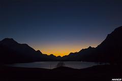 Blue in the air (Iceman_Mark) Tags: blue autumn sunset sky orange lake alps fall switzerland see december dusk engadin silvaplana piz sils graubünden surlej silvaplanersee margna salacina
