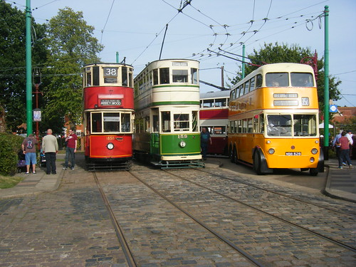 Two trams.  Nos. 1858 and 159 with two trolleybuses 628 and 313.