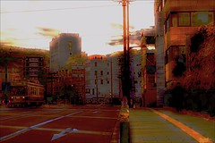 Dawn (Bamboo Barnes - Artist.Com) Tags: town sun light shadow photo painting streetcar man road building city sign nagasaki red yellow black monochrome grey bamboobarnes japan