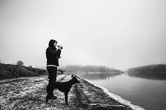 Val Joly (www.lescaillouxdecoline.com) Tags: val joly lake winter black white dog d610 24mm 28