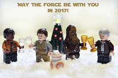 Happy New Year! (-justk-) Tags: starwars theforceawakens starwarstheforceawakens legostarwars starwarslego happynewyear rey finn hansolo chewbacca bb8 christmastree cheers