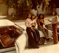 Old School (~ Lone Wadi ~) Tags: chicas latinas hispanic car automobile cholas retro 1970s streetside sidewalk