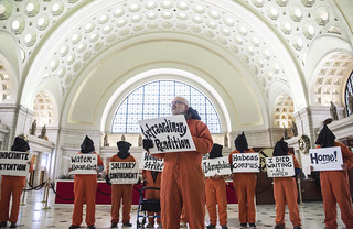 Mike Fiala Speaks During an Anti-Torture Demonstration at Union Station