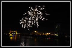 Fireworks_7317 (bjarne.winkler) Tags: 2016 new year evening pre fireworks 9pm backdrop tower bridge ziggurat calstrs building sacramento river ca