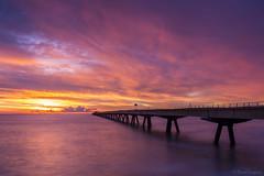Sunrise At The Dock. (dasanes77) Tags: canoneos6d canonef1635mmf4lisusm landscape seascape longexposure sea sunrise lights magiclight dock valencia lines clouds cloudscape cloudsmovement