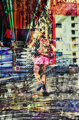 Urban Colour (Vegas Style) (Paul B0udreau) Tags: canada ontario niagara paulboudreauphotography nikon nikond5100 photoshop nevada lasvegas people neon lights tourist nighttime collage layer girl skateboard vegasstrip freemont parking street lightstreaks nikkor50mm18