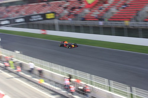 Daniel Ricciardo in his Red Bull in Formula One Winter Testing 2017