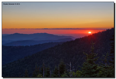 Mountain Sunset (Fraggle Red) Tags: trees sunset summer sun mountains clouds evening nationalpark northcarolina hills smokies hdr smokymountains clingmansdome greatsmokymountains greatsmokymountainsnationalpark highestpoint canonef24105mmf4lisusm 7exp 6643feet dphdr canoneos5dmarkiii 5d3 5diii adobephotoshopcs6 adobelightroom5