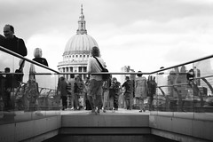 View down to St. Paul's (Matthew-King) Tags: bridge people white black london monochrome saint st view cathedral pauls down millennium