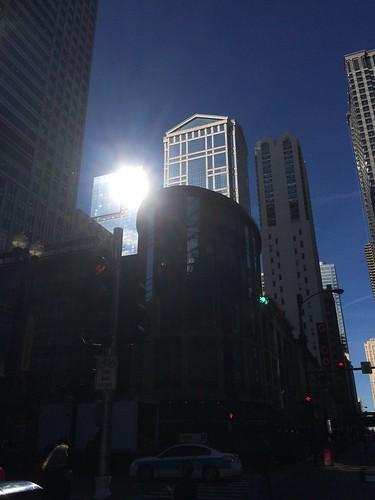 Randolph and Dearborn; glimmering in falling sun #chicago