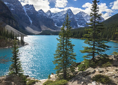 Moraine Lake (ben_leash (Gone in May)) Tags: blue trees sky lake canada mountains tree clouds landscape rockies aqua cloudy turquoise alberta banff rockymountains mountainlake moraine banffnationalpark morainelake canadianrockies lakemoraine
