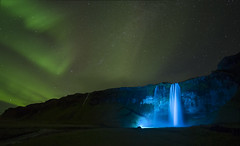 Seljalandsfoss Aurora (plndrw) Tags: waterfall iceland aurora seljalandsfoss bluelight fullframefisheye