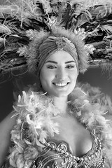 Feathers (laskaproject) Tags: show portrait blackandwhite woman girl smile contrast costume saturated bright lasvegas nevada feathers dancer boa showgirl nightlife sequins performer burlesque intricate