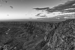 A View of the Desert View Watchtower at Sunset (BW) (jamesclinich) Tags: sunset arizona sky detail water monochrome clouds landscapes blackwhite availablelight grandcanyon tripod towers clarity az olympus rivers paintshoppro hdr omd topaz corel adjust em10 denoise bweffects jamesclinich